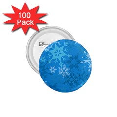 Snowflakes Cool Blue Star 1 75  Buttons (100 Pack)