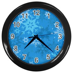 Snowflakes Cool Blue Star Wall Clocks (black)