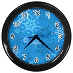 Snowflakes Cool Blue Star Wall Clocks (Black) Front