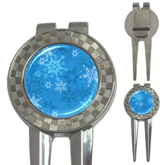 Snowflakes Cool Blue Star 3 In 1 Golf Divots
