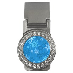 Snowflakes Cool Blue Star Money Clips (cz)