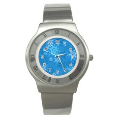Snowflakes Cool Blue Star Stainless Steel Watch