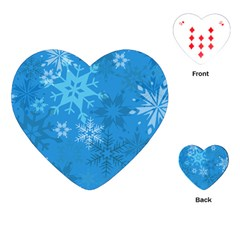 Snowflakes Cool Blue Star Playing Cards (heart)