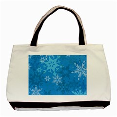 Snowflakes Cool Blue Star Basic Tote Bag