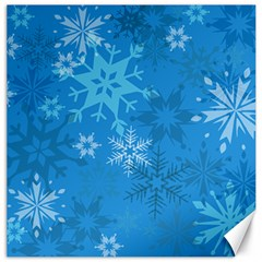 Snowflakes Cool Blue Star Canvas 16  X 16