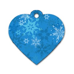 Snowflakes Cool Blue Star Dog Tag Heart (two Sides)