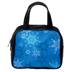 Snowflakes Cool Blue Star Classic Handbags (one Side)