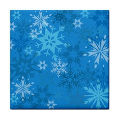 Snowflakes Cool Blue Star Face Towel