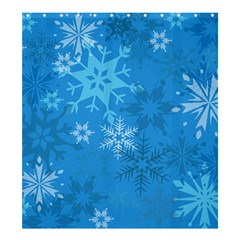 Snowflakes Cool Blue Star Shower Curtain 66  X 72  (large)