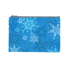 Snowflakes Cool Blue Star Cosmetic Bag (large)