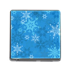 Snowflakes Cool Blue Star Memory Card Reader (square)
