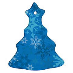 Snowflakes Cool Blue Star Christmas Tree Ornament (two Sides)