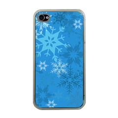Snowflakes Cool Blue Star Apple Iphone 4 Case (clear)