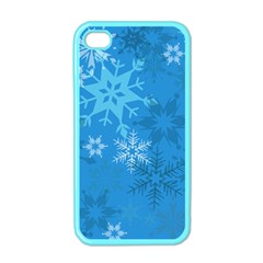 Snowflakes Cool Blue Star Apple Iphone 4 Case (color)