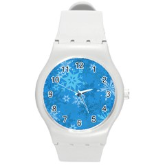 Snowflakes Cool Blue Star Round Plastic Sport Watch (m)