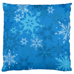 Snowflakes Cool Blue Star Large Cushion Case (one Side)
