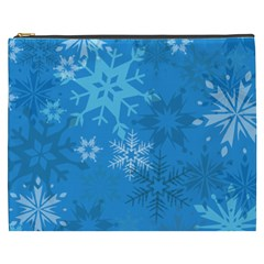 Snowflakes Cool Blue Star Cosmetic Bag (xxxl)