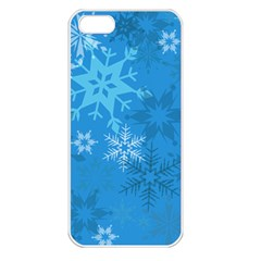 Snowflakes Cool Blue Star Apple Iphone 5 Seamless Case (white)