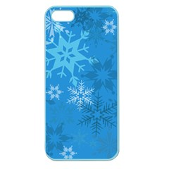 Snowflakes Cool Blue Star Apple Seamless Iphone 5 Case (color)