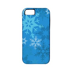 Snowflakes Cool Blue Star Apple Iphone 5 Classic Hardshell Case (pc+silicone)