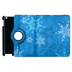 Snowflakes Cool Blue Star Apple Ipad 3/4 Flip 360 Case