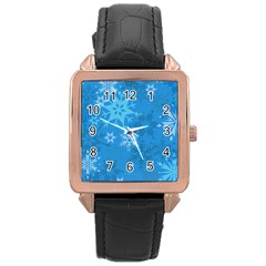 Snowflakes Cool Blue Star Rose Gold Leather Watch