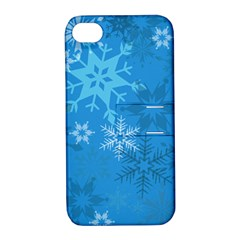Snowflakes Cool Blue Star Apple Iphone 4/4s Hardshell Case With Stand