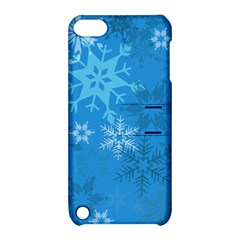 Snowflakes Cool Blue Star Apple Ipod Touch 5 Hardshell Case With Stand