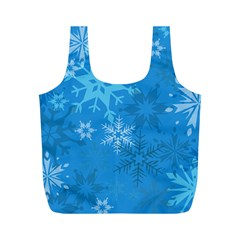 Snowflakes Cool Blue Star Full Print Recycle Bags (m)