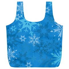 Snowflakes Cool Blue Star Full Print Recycle Bags (l)