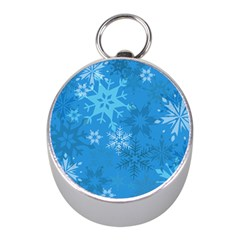 Snowflakes Cool Blue Star Mini Silver Compasses