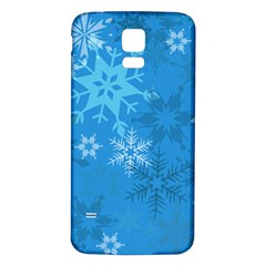 Snowflakes Cool Blue Star Samsung Galaxy S5 Back Case (white)