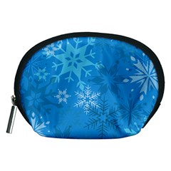 Snowflakes Cool Blue Star Accessory Pouches (medium)