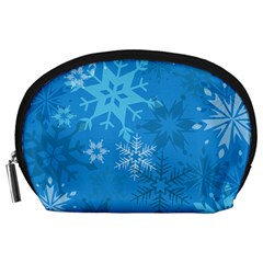 Snowflakes Cool Blue Star Accessory Pouches (large)