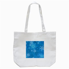 Snowflakes Cool Blue Star Tote Bag (white)