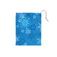 Snowflakes Cool Blue Star Drawstring Pouches (small)