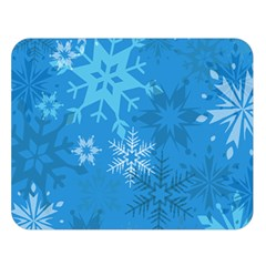 Snowflakes Cool Blue Star Double Sided Flano Blanket (large)