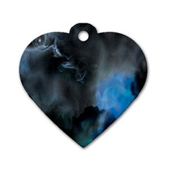 Space Star Blue Sky Dog Tag Heart (two Sides)