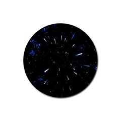Space Warp Speed Hyperspace Through Starfield Nebula Space Star Line Light Hole Rubber Coaster (round)