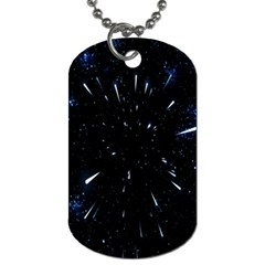 Space Warp Speed Hyperspace Through Starfield Nebula Space Star Line Light Hole Dog Tag (one Side)
