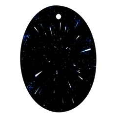 Space Warp Speed Hyperspace Through Starfield Nebula Space Star Line Light Hole Oval Ornament (two Sides)