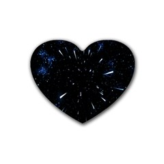 Space Warp Speed Hyperspace Through Starfield Nebula Space Star Line Light Hole Heart Coaster (4 Pack)