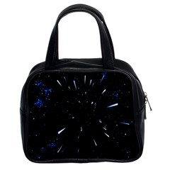 Space Warp Speed Hyperspace Through Starfield Nebula Space Star Line Light Hole Classic Handbags (2 Sides)