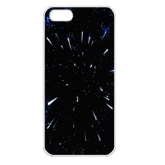 Space Warp Speed Hyperspace Through Starfield Nebula Space Star Line Light Hole Apple Iphone 5 Seamless Case (white)