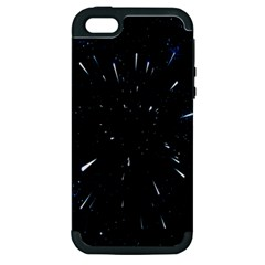 Space Warp Speed Hyperspace Through Starfield Nebula Space Star Line Light Hole Apple Iphone 5 Hardshell Case (pc+silicone)
