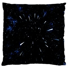 Space Warp Speed Hyperspace Through Starfield Nebula Space Star Line Light Hole Large Flano Cushion Case (two Sides)
