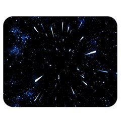 Space Warp Speed Hyperspace Through Starfield Nebula Space Star Line Light Hole Double Sided Flano Blanket (medium)