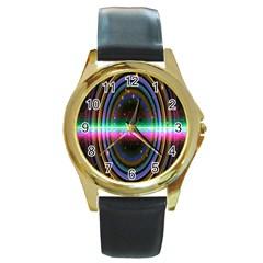 Spectrum Space Line Rainbow Hole Round Gold Metal Watch
