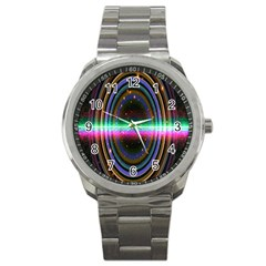 Spectrum Space Line Rainbow Hole Sport Metal Watch