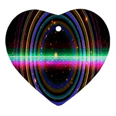 Spectrum Space Line Rainbow Hole Heart Ornament (two Sides)
